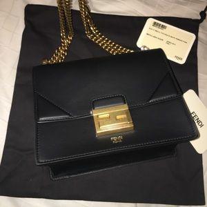 Fendi black leather Kan U Crossbody/Shoulder Bag
